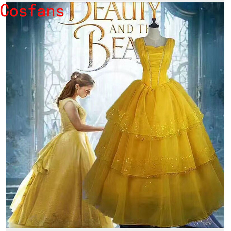 Free Shipping Adult Deluxe Princess Belle Beauty And the Beast Adult Fairytale Long Gown Costume  Cosplay Carnival Fancy Costume
