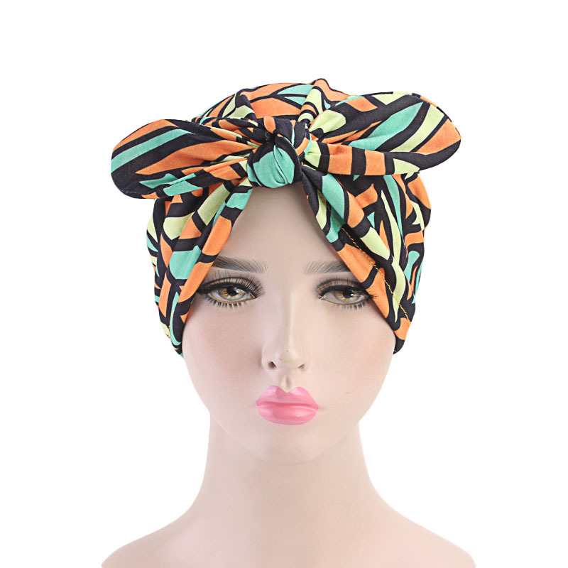 Women Flowers Print Bowknot Bandanas Cotton Elastic Turban Fashion Ladies Chemo Muslim Head Wraps Headscarves Hair Accessories