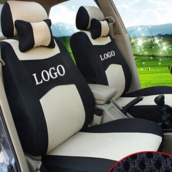 grey/red/blue 3 color Embroidery logo Car Seat Cover Front&Rear complete 5 Seat For Mitsubishi Pajero Sport OUTLANDER EX
