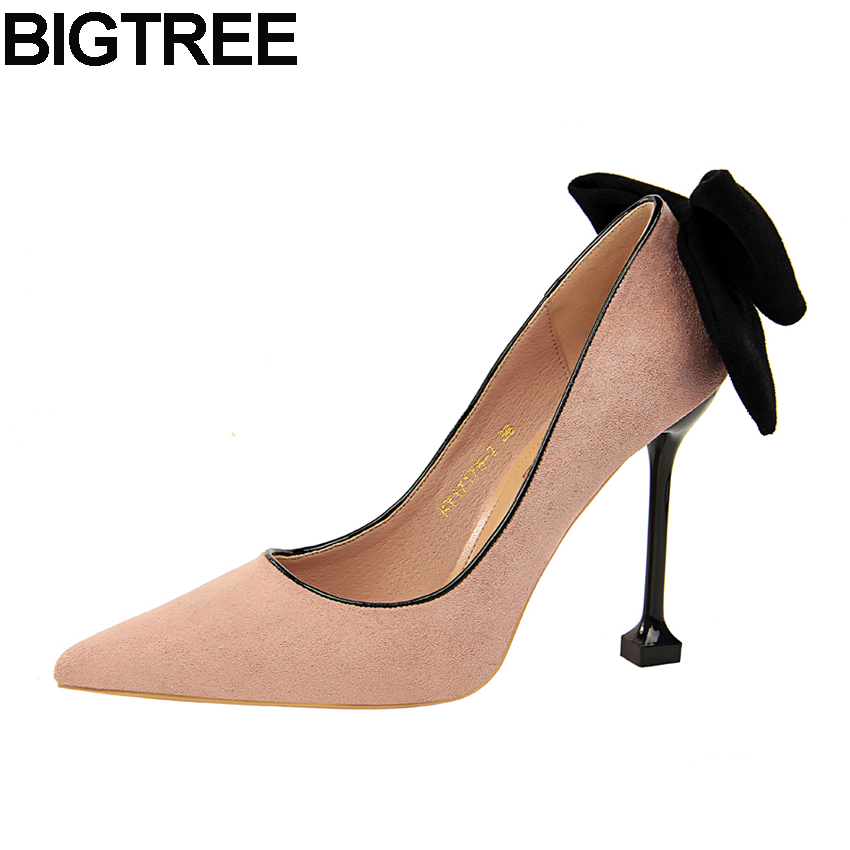 BIGTREE Spring Autumn Women High Heels Flock Bow Knot Bowtie Shoes Elegant  Party Clubwear High Quality ced16093860f