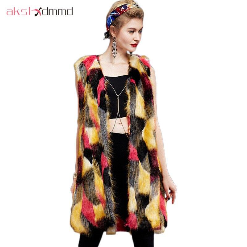 AKSLXDMMD femmes fausse fourrure de renard gilet 2019 nouvelle mode brillance couleur Long manteau hiver chaud pardessus col en v sans manches veste LH976