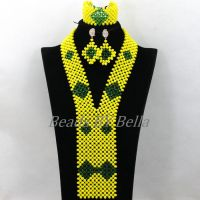 2016 New Yellow Crystal Nigerian Wedding Necklace African Beads Jewelry Set For Women Bridal Jewelry Sets