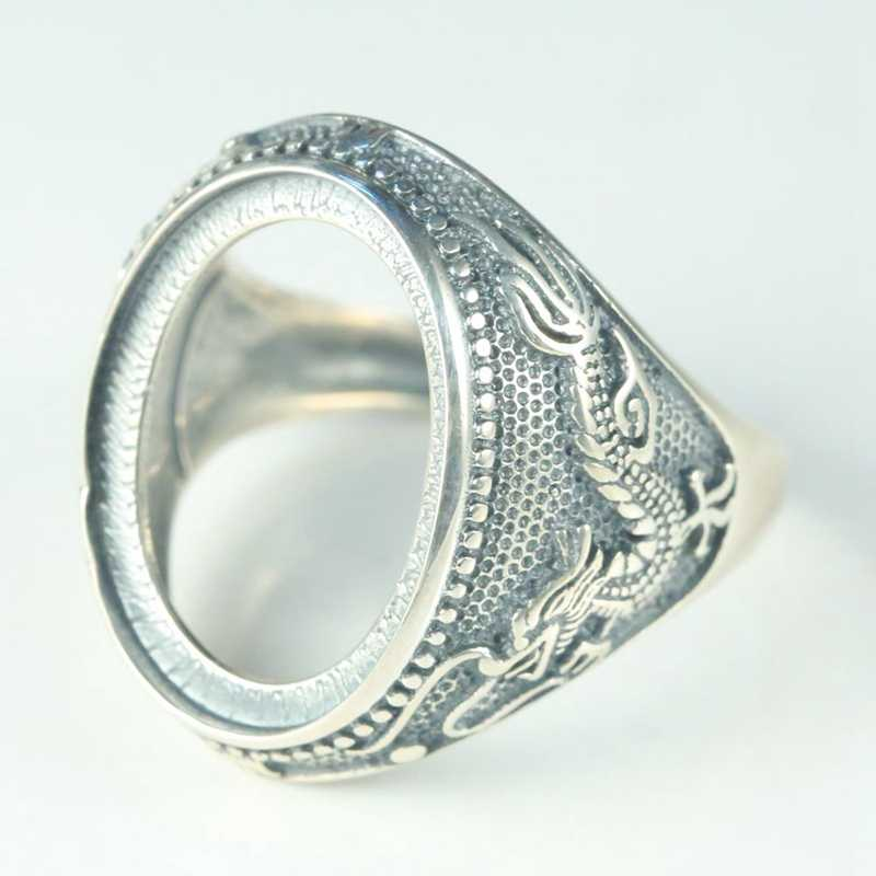 Ze srebra próby 925 biżuteria pierścionek zaręczynowy mężczyźni antyczne rocznika pół uchwyt pasuje do 15x20mm owalne Cabochon bursztynowy turkusowy chiny smok