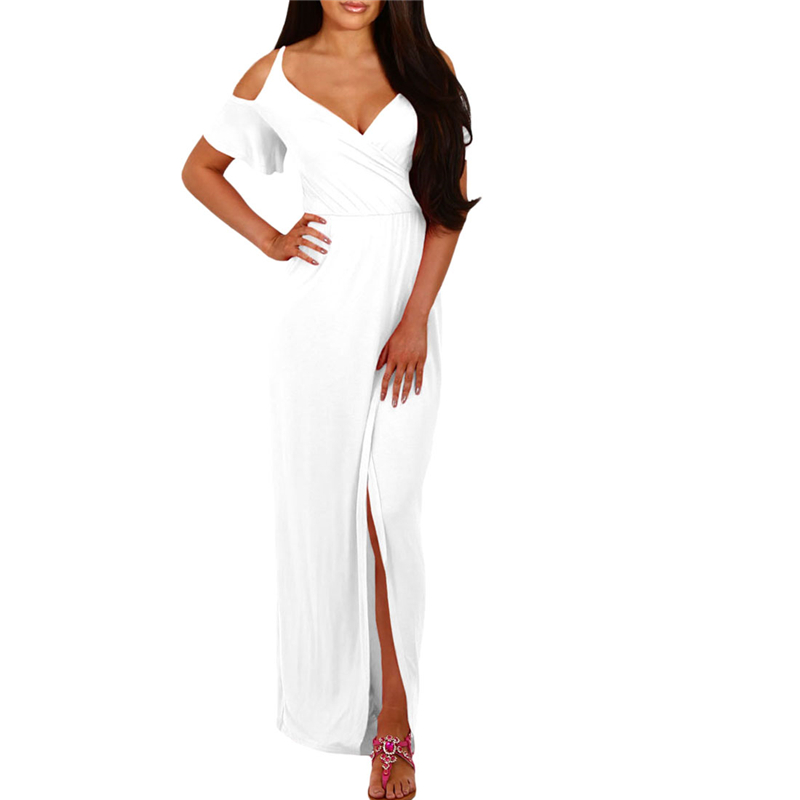 White Cold Shoulder Long Jersey Dress 2017 Stretched Modest Fashion Summer Autumn Full length Beach Boho Casual Dresses Wear