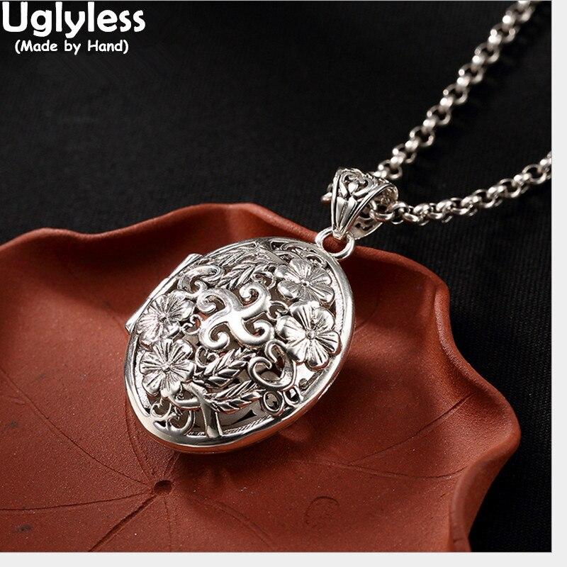 Uglyless réel 925 Sterling argent femmes creux prune fleur pendentifs sans chaînes bouddhisme Dharma Bijoux ouvert boîte ovale Bijoux