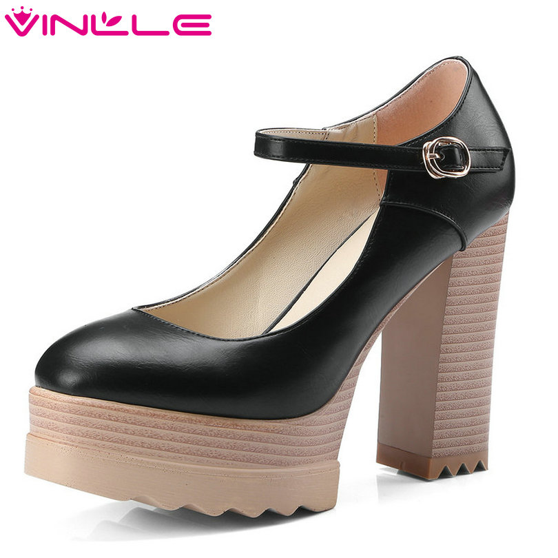 VINLLE 2018 Women Pumps Pointed Toe PU leather Square High Heel Ankle Strap Ladies Wedding Shoes Size 34-42 vinlle 2017 women pumps autumn slip on wedding shoes women elegant pointed toe pu spring shoes square low heel pumps size 34 43