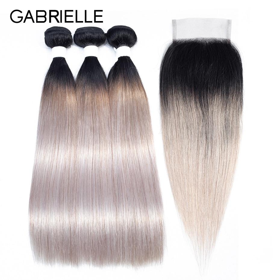 Gabrielle Ombre Hair Bundles With Closure Brazilian Human