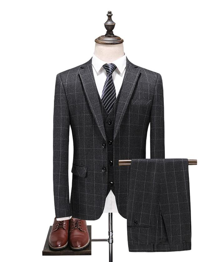 (Jacket+Vest+Pants)2019 New Arrival Mens High Quality Grey Fashion Casual Plaid Suit Men,Men's Business Classic Suits Tuxedo
