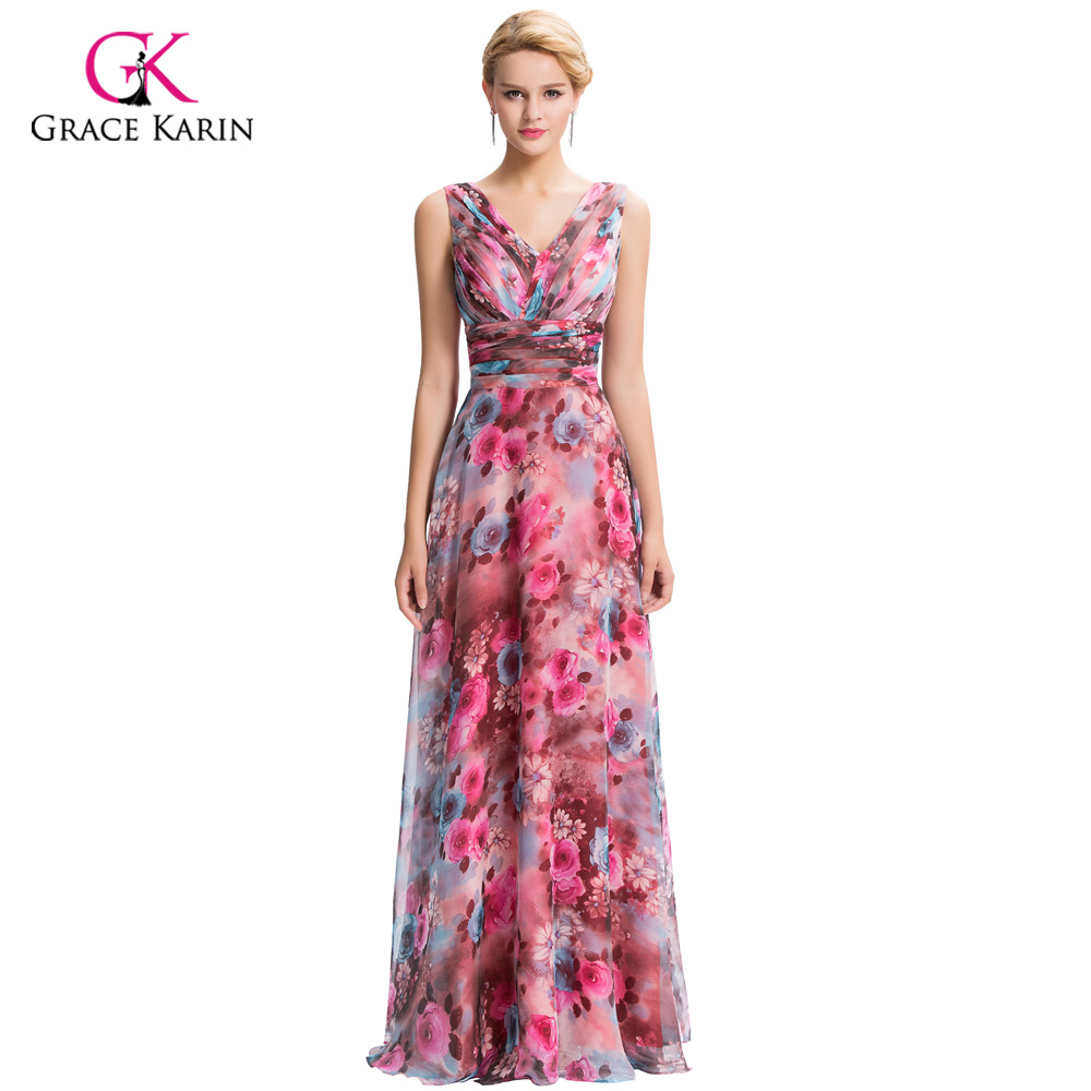 4cbe28b8342c Elegant Evening Dresses 2018 Grace Karin Vintage Floral Print Dresses  Chiffon Long Formal Evening Gowns vestidos robe de soiree