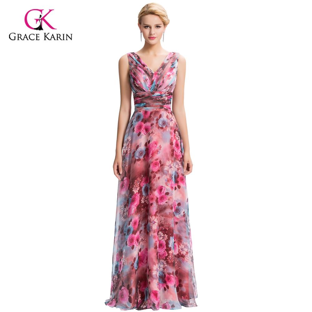 Evening Dress Long Floral Print