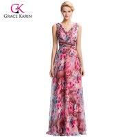 Elegant Long Evening Dresses 2016 Grace Karin Flower Pattern Floral Print Chiffon Formal Evening Gowns For