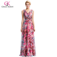 Elegant Long Evening Dresses 2016 Grace Karin Flower Pattern Floral Print Chiffon Formal Evening Gowns For