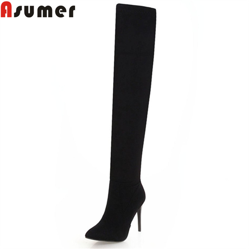 ASUMER black fashion autumn winter boots women pointed toe zip flock over the knee boots stiletto heels ladies thigh high boots сандалии fersini fersini fe016awiis07