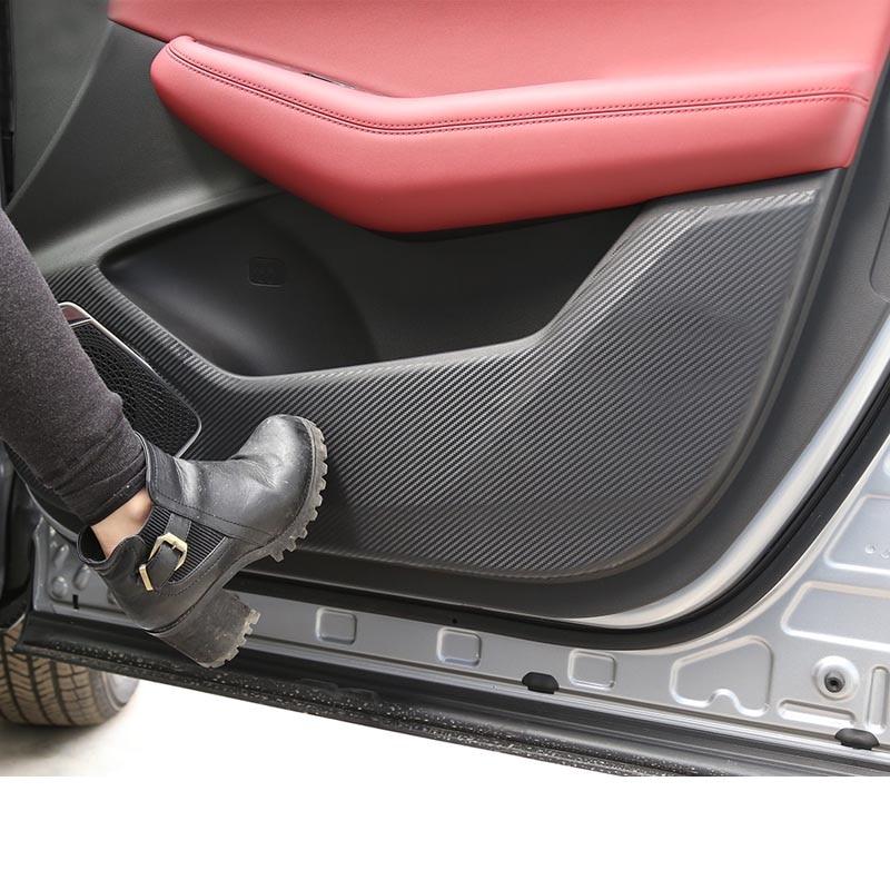 Lsrtw2017 Carbon Fiber Car Door Anti-kick Mat Protective Sticker For Changan Cs85 2018 2019 2020