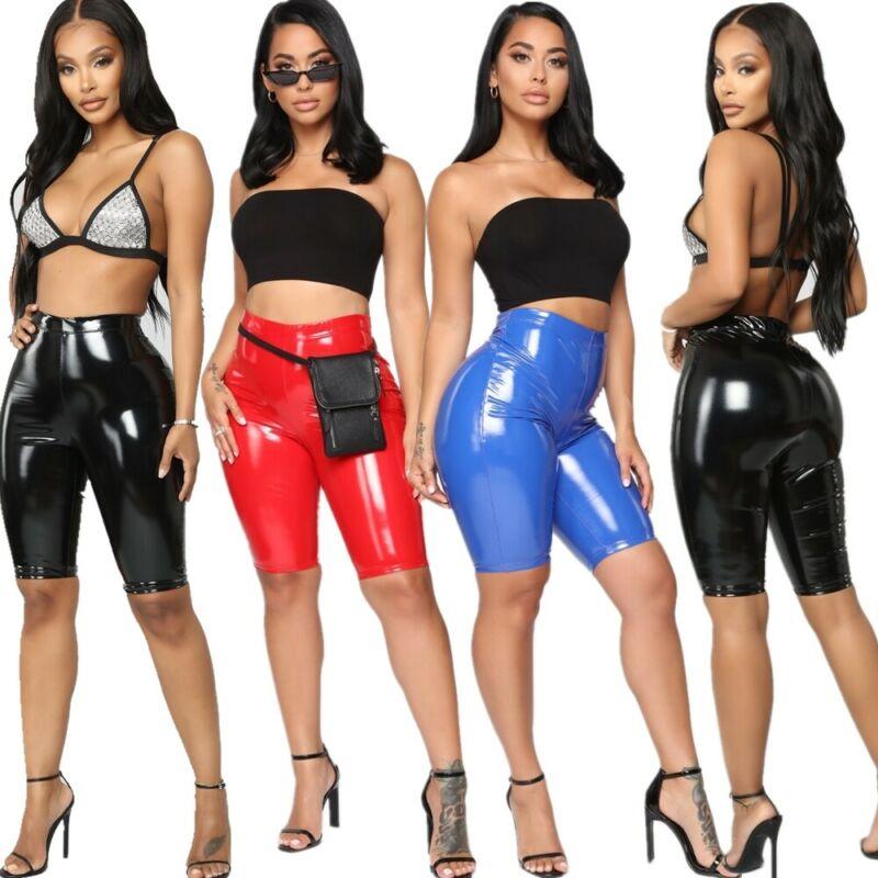 >Women Ladies <font><b>Summer</b></font> Fashion Casual Cycling <font><b>Biker</b></font> <font><b>Shorts</b></font> PU Leather Solid Color High Waist <font><b>Summer</b></font> Skinny <font><b>Shorts</b></font>