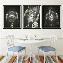 Black And White Animal Poster Monkey Smoking With Glasses Wall Art Posters Prints Bad Canvas Painting
