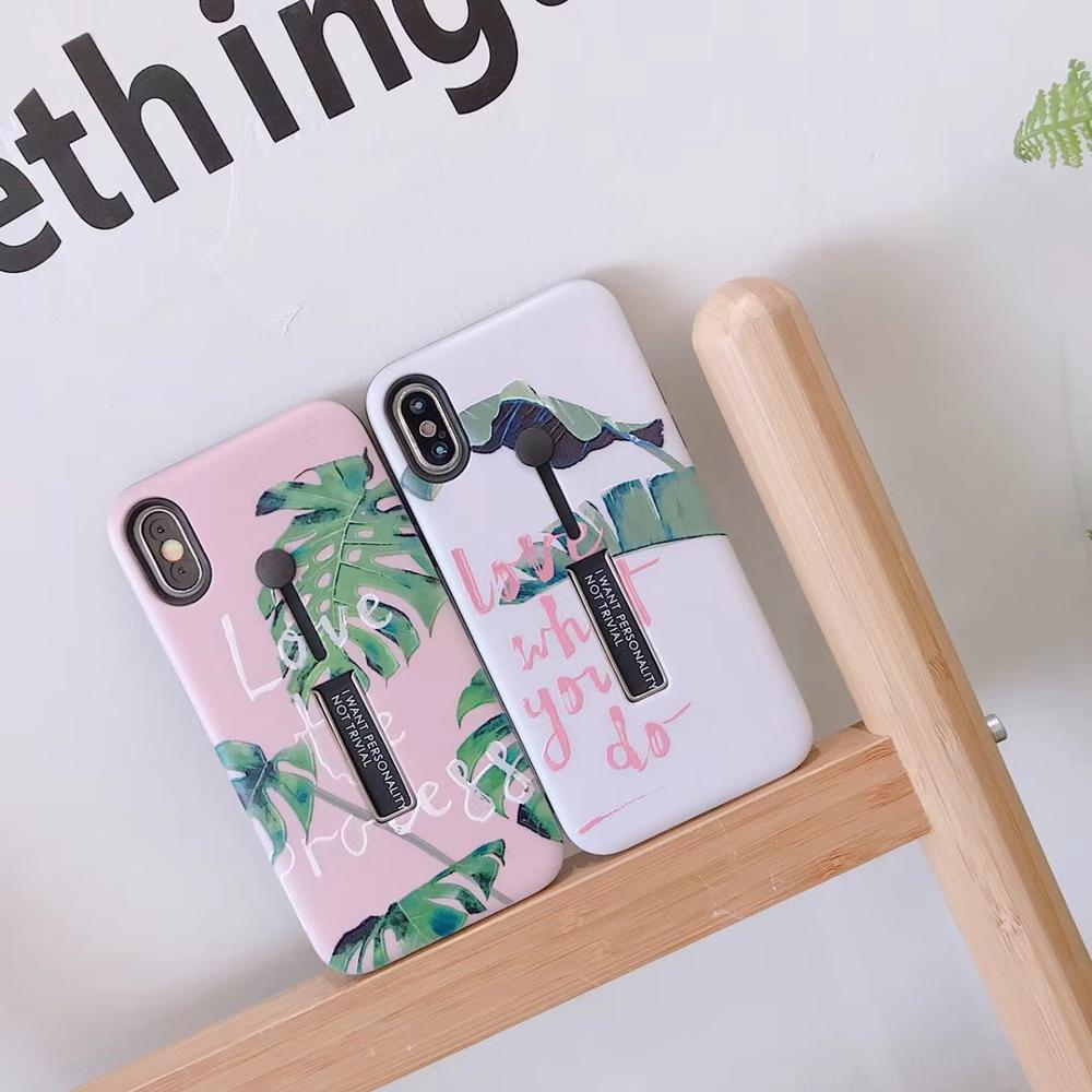 3 in one Chic Banana Leaf Novelty Phone Case Embossed Ring Holder Stand Shock proof Cover For iPhoneX 8 6s 7plus Casing Shell