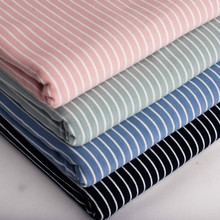 Soft Cotton Knitted Jersey Fabric 4 Way Stretchy Striped Cotton Fabric for Baby T-shirt Pajama Clothes 50*165cm