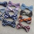 Xadrez Crianças Bowtie Para Meninos Das Meninas da High-Grade Double-Deck Baby Boy Bow Tie Polyester Bowtie Algodão Crianças borboleta Ajustável