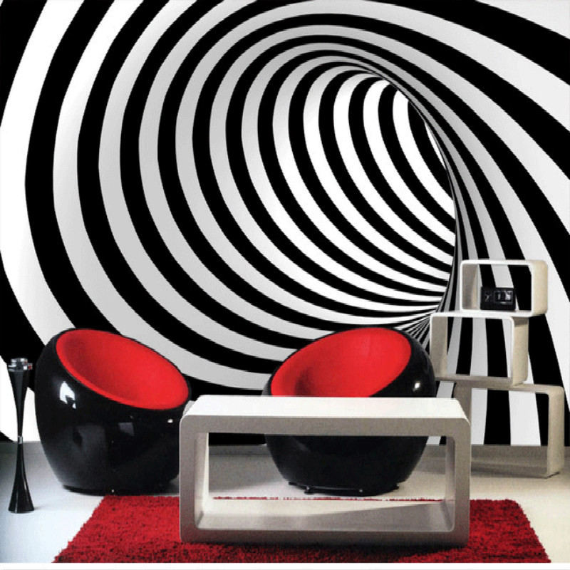 3D abstract art backdrop modern black and white mural new
