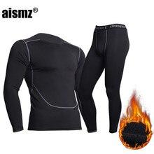Aismz inverno roupa interior térmica dos homens de fitness quente velo legging apertado undershirts compressão secagem rápida masculino thermo longo johns
