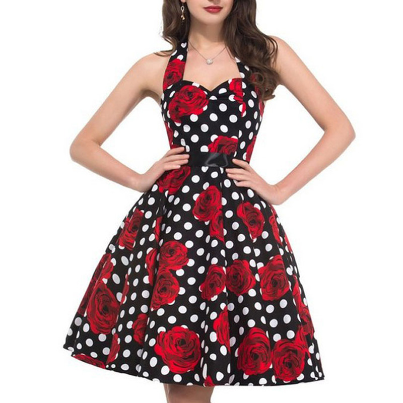 Rockabilly 50s 60s Polka Dot Long Sleeve A Line Dress Evening Party Swing Dress