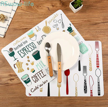 2 Pcs Non-slip Table Mat Simple Printed Western Food Household PP Plastic Placemat Bowl For Kitchen Decoration Accessories