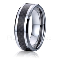 black carbon fiber wedding band tungsten carbide ring for men and women fashion jewellery online joias