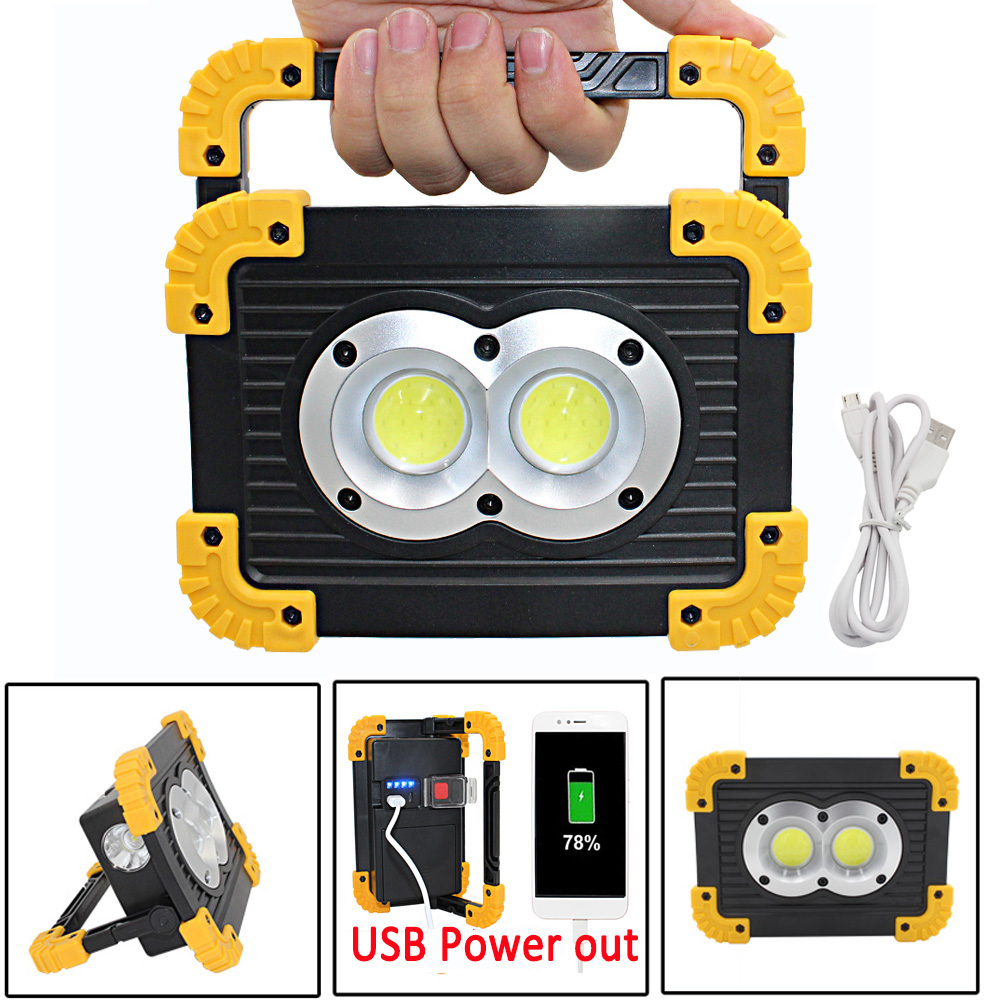 Rechargeable 20W 2x COB LED Flashlight Work Light Lantern Flood Light 4 Mode USB Power Out For Camping Tent Lamp Outdoor