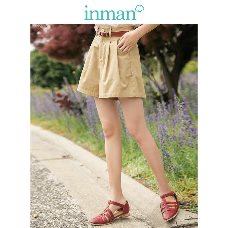 INMAN 2019 Summer New Arrival Medium Waist Solid A-line Plated Literary Slim Minimalism All Matched Casual Women Short Pants