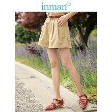 Short-Pants Summer Casual Women Waist Medium Solid Slim INMAN A-Line-Plated Minimalism
