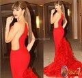 Vestidos De Noche escarpada especial del lateral del cuello Trasnparent tren largo rojo De la sirena Myriam Fares Vestidos Noche