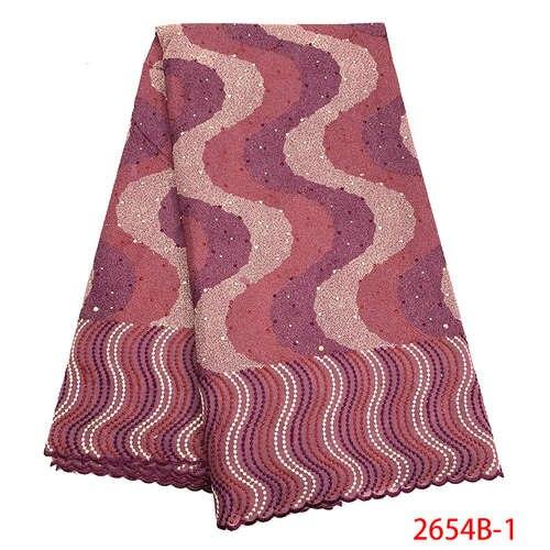 Dentelle coton broderie tissu haute qualité Voile africain dentelle coton élastique dentelle tissu QF2654B-1