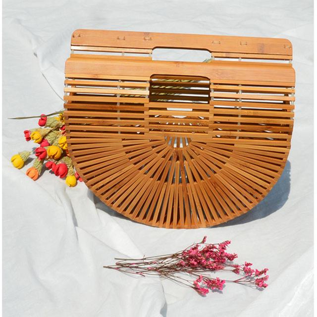 Bamboo Handbag Woman Female Travel Vacation Totes Handmade Summer Women's Purse Bohemian Straw Bags Bolso Mimbre Panier Plage