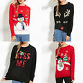 2016 New Fashion Autumn Women Snowman Print Preppy Style Full Sleeve Tops Knitted Ugly Christmas Sweater Pull Cachemire Femme