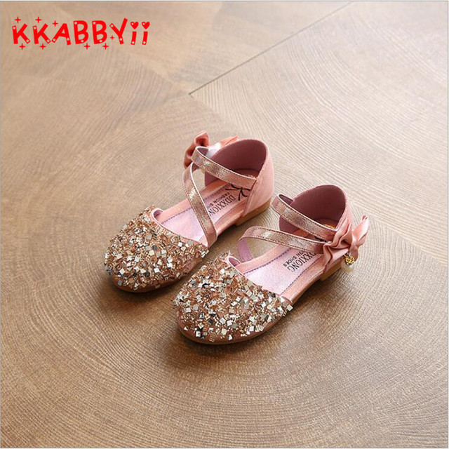KKABBYII Children Princess Glitter Sandals Kids Girls Soft Shoes Sequin  Low-heeled Dress Party Shoes Pink Silver Gold Size 21-36 ea22b04f9ceb
