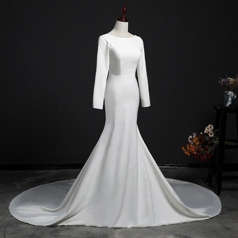 Robe de mariée voyage photo fil léger mot col rond printemps et été à manches longues tiraillement corps sirène wendding robe 2019