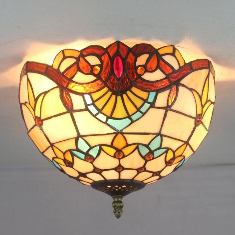 12 Inch European Pastoral Baroque Tiffany Color Glass Ceiling Light Fixture  Bedroom Study Hallway Balcony Corridor