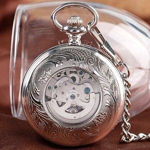 Image 5 - Weihnachten Geschenk Luxus Uhr Männer Relogio Digitale Steampunk Taschenuhr Uhr Vintage Selbst Wind Stilvolle Grau Zifferblatt Automatische Mechanische