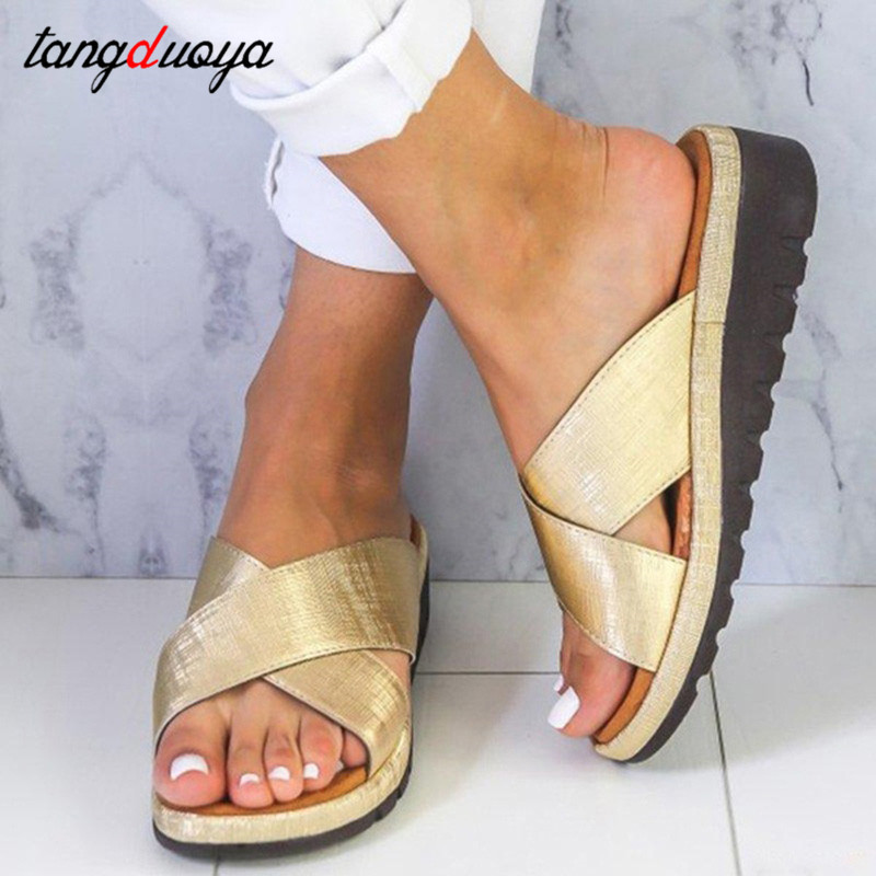 Ladies Sandals Wedge-Slippers Platform-Shoes Flip-Flops Big-Size Women Summer Beach
