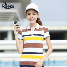 Ruoru New Women Polo Shirt Femme Stripe Breathable Classic Soft Feminina Summer Woman Polos Tops Plus Size M-3XL