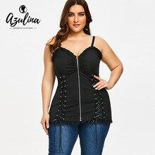 AZULINA Gothic Criss Cross Zipper Up Plus Size Slip Top Summer Punk Spaghetti Strap Sleeveless Women Cami Lace-Up Ladies Top 5XL