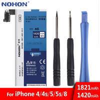 NOHON Batterie Für iPhone 4 4G 4S 5 5G 5S 5C 8 8G iPhone8 iPhone5 iPhone4 Bateria Reale Kapazität Handy Batterie Kostenlose Tools