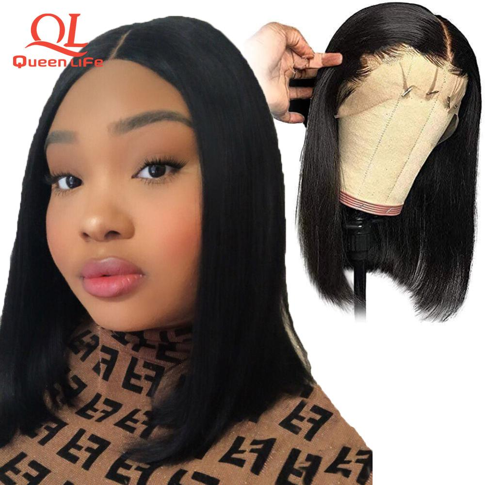 Queenlife Short Bob 13x4 Lace Front human hair wigs Brazilian Remy Hair 613 blonde wig pre