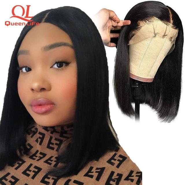 13x4 Queenlife Curto Bob Dianteira Do Laço perucas de cabelo humano Brasileiro Do Cabelo de Remy 613 peruca loira pré arrancadas branqueada knots perucas para as mulheres
