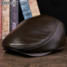 XdanqinX Unisex Genuine Leather Hat Sheepskin Warm Beret Autumn Winter Flat Caps For Men And Women Simple Brands Leather Cap xdanqinx autumn winter women s hat 100