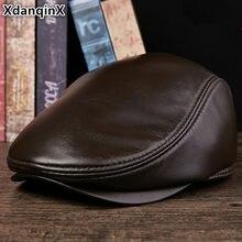 XdanqinX Unisex Genuine Leather Hat Sheepskin Warm Beret Autumn Winter Flat  Caps For Men And Women cc999b928145