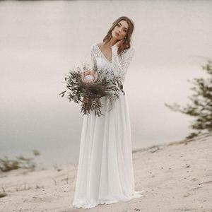 Image 2 - ארוך שרוולים חוף שמלות כלה ללא משענת כלה שמלת שיפון ותחרה V צוואר Vestidos דה Novia חוף תפור לפי מידה שנהב לבן