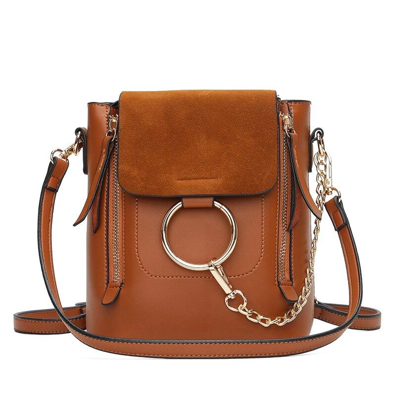 Металлическое кольцо сумка для Для женщин замшевые цепь сумка через плечо Винтаж кожа Сумки Для женщин Сумки известных брендов Mochilas Femininas
