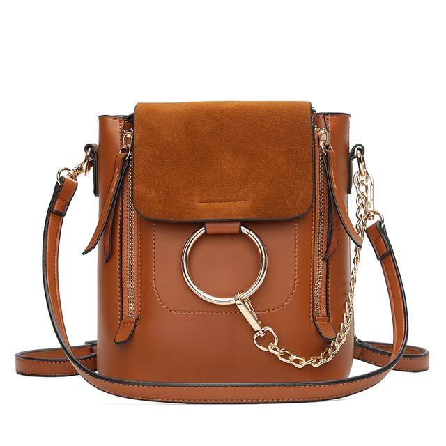Metal Ring Shoulder Bag For Women Suede Chain Crossbody Bag Vintage Leather Bags Women Handbags Famous Brands Mochilas Femininas